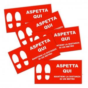Kit ASPETTA QUI 5 pz Adesivi Segnaletici Calpestabili